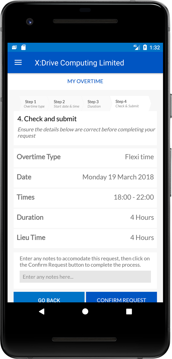 Submit overtime (Android)