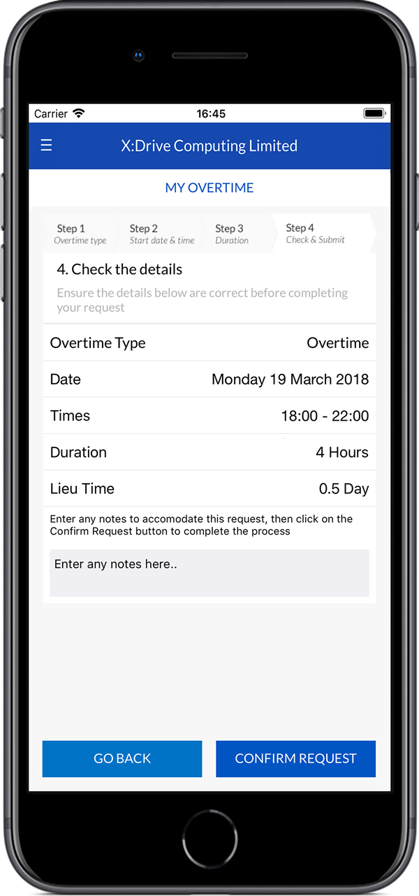 Submit overtime (iOS)