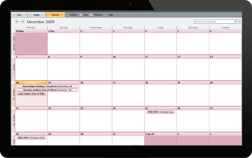 Subscribe to your leave calendar through Microsoft Outlook or Google Calendars