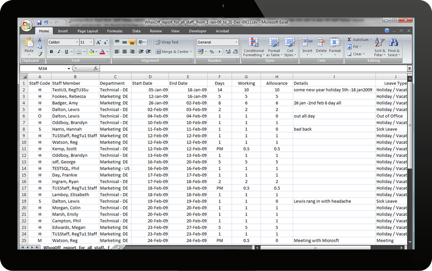 Download reports to csv for viewing/editing in Microsoft Excel